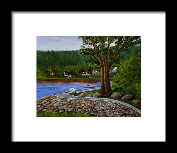 Boardwalk Framed Print featuring the painting Living In Annapolis Royal by Donna Muller