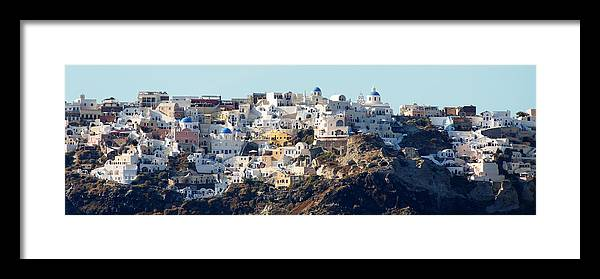 Darin Volpe Architecture Framed Print featuring the photograph Living On The Edge -- Oia, Santorini by Darin Volpe
