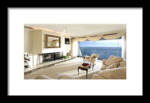 Living Room Architectural Photography Framed Print featuring the photograph Living Room by Panos Trivoulides