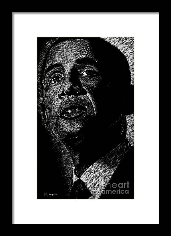 Barack Obama Framed Print featuring the drawing Living The Dream by Maria Arango