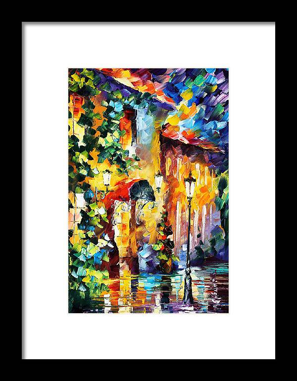 Afremov Framed Print featuring the painting Living Town by Leonid Afremov