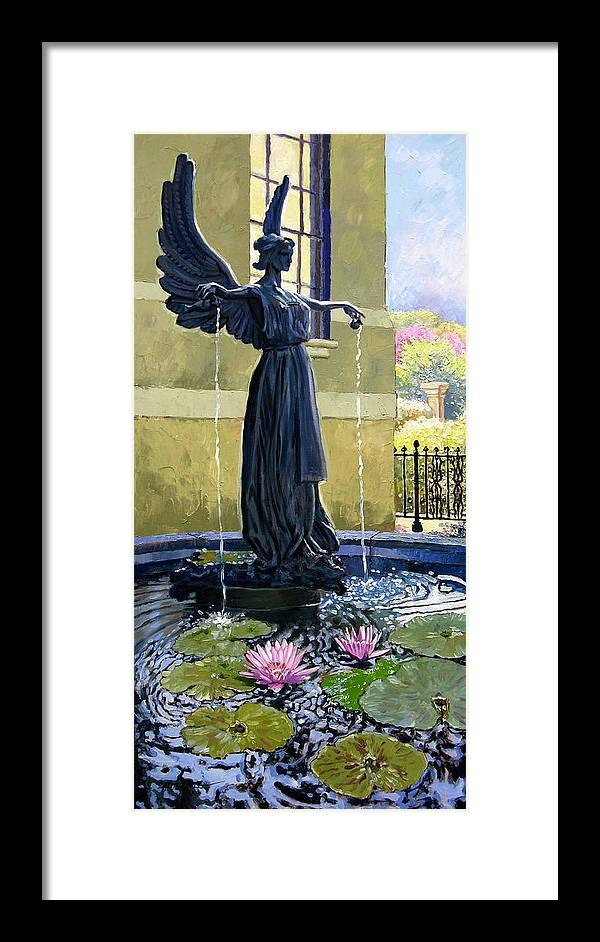 Garden Fountain Framed Print featuring the painting Living Waters by John Lautermilch