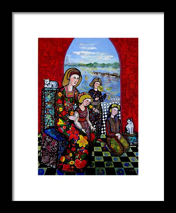 Medieval Framed Print featuring the painting Liz Combing Madeline In Portsmouth by Marilene Sawaf
