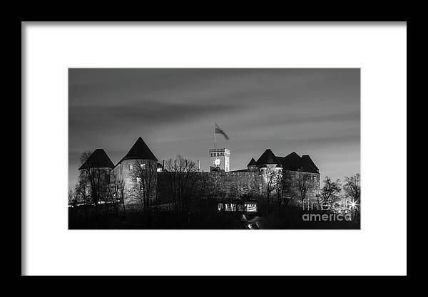 Isaev Framed Print featuring the photograph Ljubljana Castle In Black And White by Vyacheslav Isaev