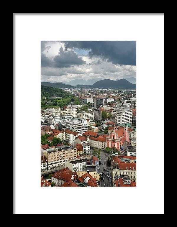 Aerial Framed Print featuring the photograph Ljubljana Slovenia With Karawanks, Kamnik Savinja, Limestone Alp by Reimar Gaertner