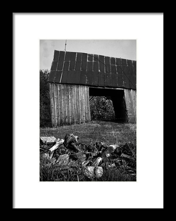 Vintage Framed Print featuring the photograph lloyd-shanks-barn-2BW by Curtis J Neeley Jr