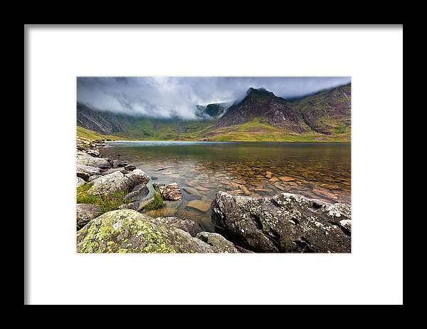 Framed Print featuring the photograph Llyn Idwal #1, Cwm Idwal, Snowdonia, North Wales by Anthony Lawlor