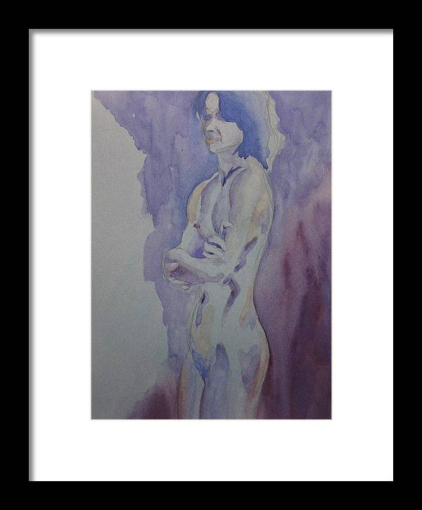 Female Nude Standing Framed Print featuring the painting LMD by Ken Daugherty