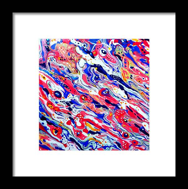 Sea Shellfish Lobster Abstract Red Blue Beach Ocean Framed Print featuring the painting Lobster Boil by Gail Butler