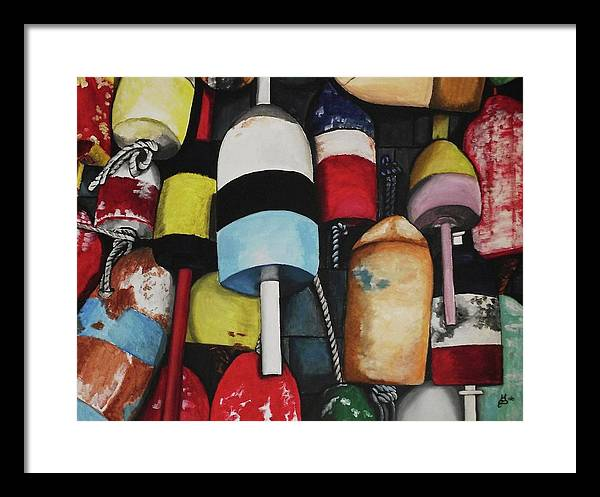 Acrylic Framed Print featuring the painting Lobster Buoys by Kim Selig