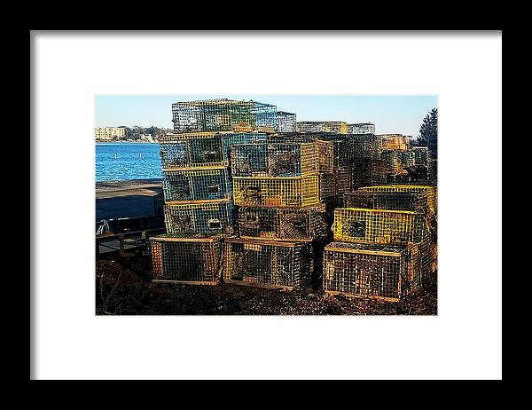 Lobster Pots On Town River Quincy Mass Framed Print featuring the photograph Lobster Pots by Bill Driscoll