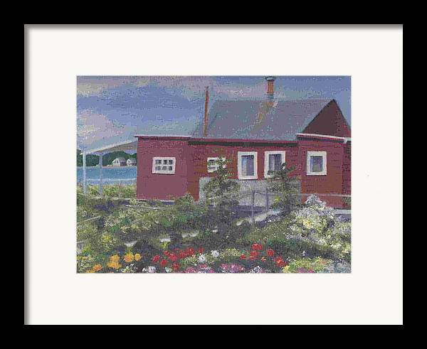 Seascape Framed Print featuring the painting Lobster Shack At Fenwick by Paula Emery
