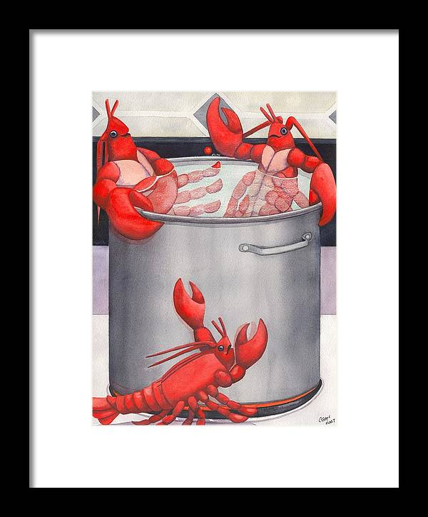 Lobsters Framed Print featuring the painting Lobster Spa by Catherine G McElroy