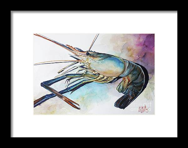 Landscape Framed Print featuring the painting Lobster_001 by Win Min Mg