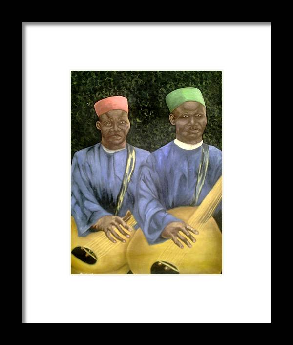 Culture Framed Print featuring the painting Local African Guitarist by Olaoluwa Smith