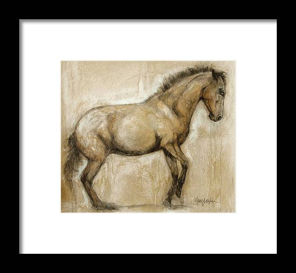Horse Art Framed Print featuring the painting Lock and Load by Mary Leslie