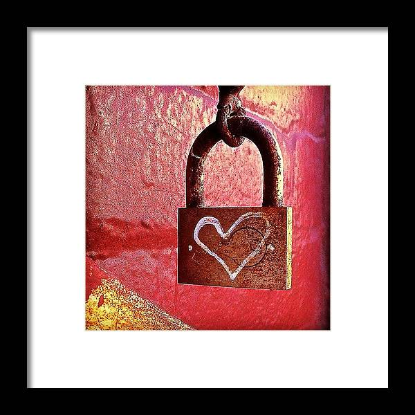 Lock Framed Print featuring the photograph Lock/heart by Julie Gebhardt