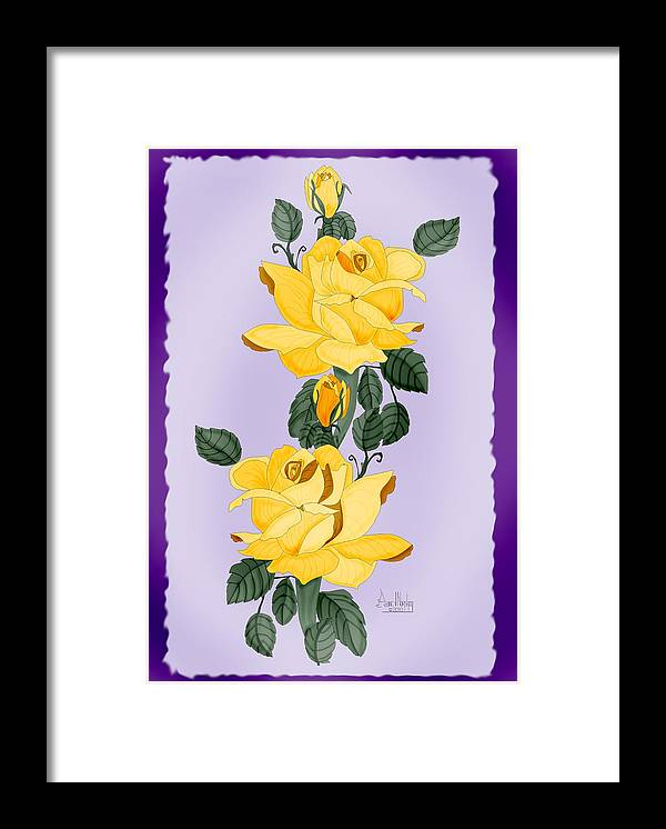 Yellow Roses Framed Print featuring the painting Locked In Color by Anne Norskog