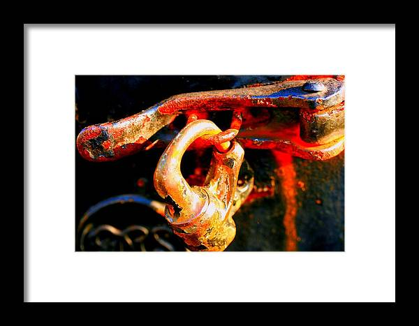 Rusted Railroad Lock Photograph Framed Print featuring the photograph Locked Up by Susan Moore