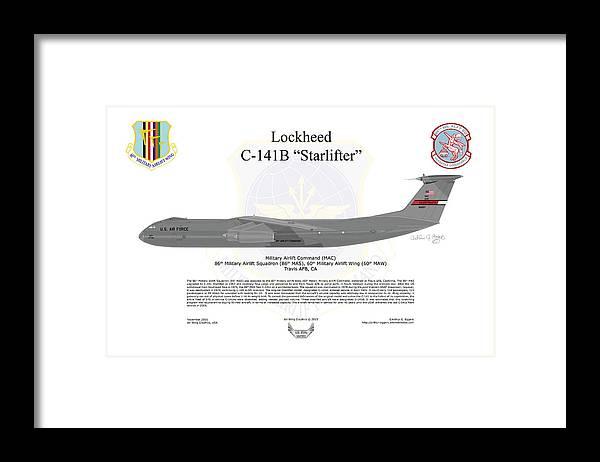 Lockheed Framed Print featuring the digital art Lockheed C-141b 60maw Grey by Arthur Eggers