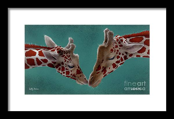 Giraffe Framed Print featuring the painting Lofty Lovers... by Will Bullas