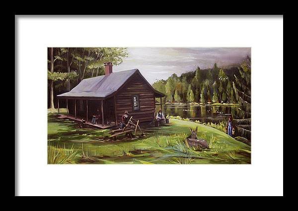 Log Cabin Framed Print featuring the painting Log Cabin by the Lake by Nancy Griswold