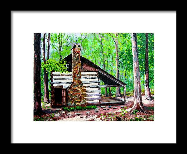 Log Cabin Framed Print featuring the painting Log Cabin V by Stan Hamilton