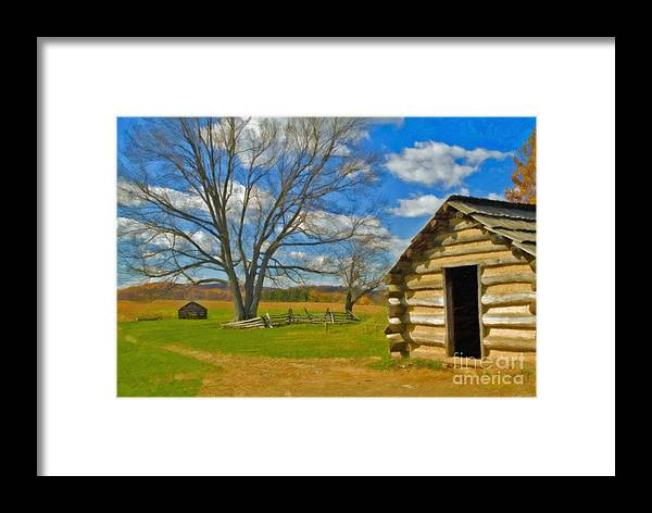 Valley Forge Framed Print featuring the photograph Log Cabin Valley Forge Pa by David Zanzinger
