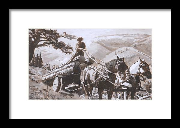 Historical Framed Print featuring the painting Log Wagon Historical Vignette by Dawn Senior-Trask
