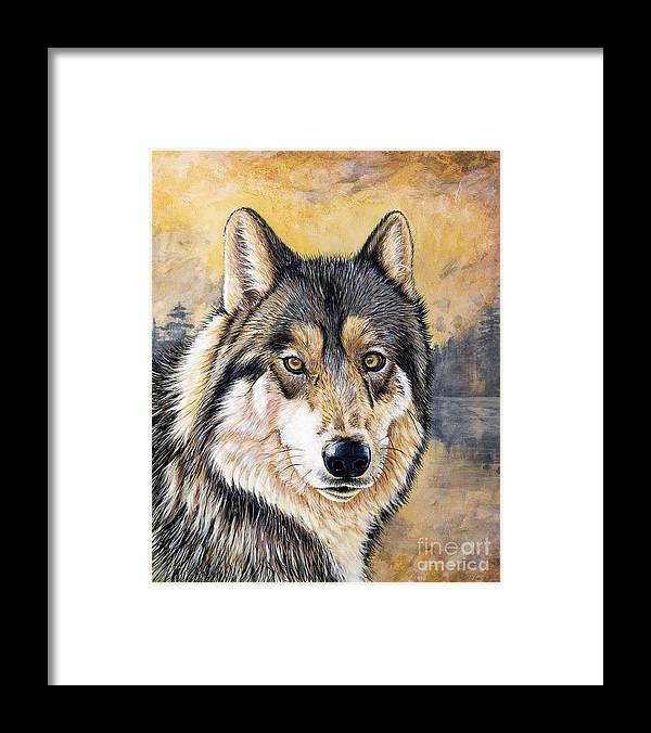 Acrylics Framed Print featuring the painting Loki by Sandi Baker