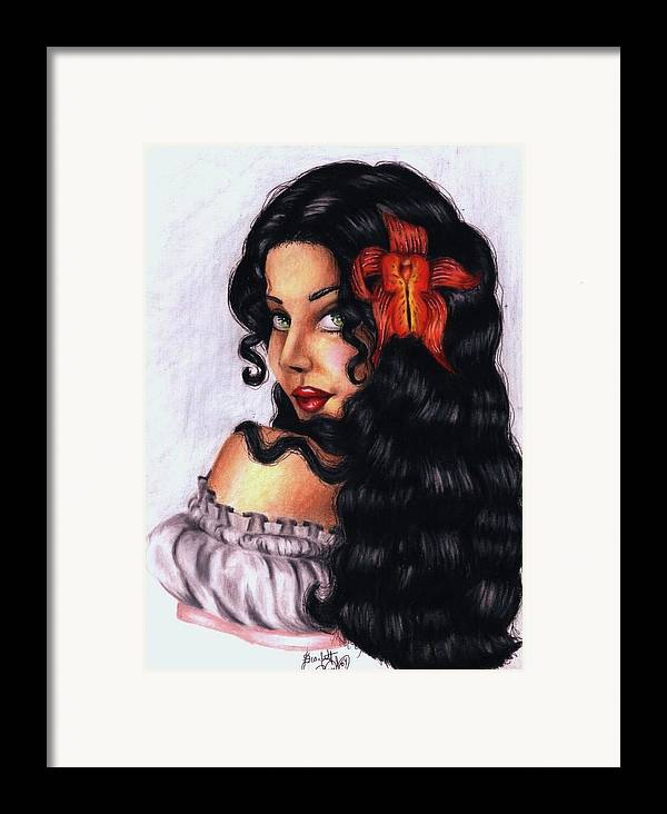 Woman Framed Print featuring the drawing Lolita by Scarlett Royal