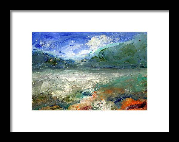 Lake Framed Print featuring the painting Lombard Lake by Mario Zampedroni