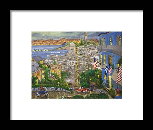 Landscape Framed Print featuring the painting Lombard Street by Charles Vaughn