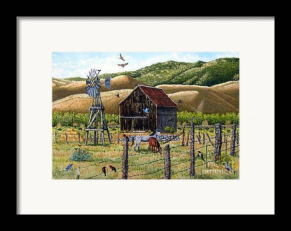 Southwest Framed Print featuring the painting Lompa Valley Ranch by Santiago Chavez