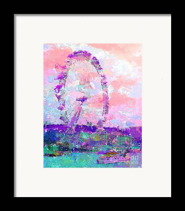 London Framed Print featuring the mixed media London Eye by Marilyn Sholin