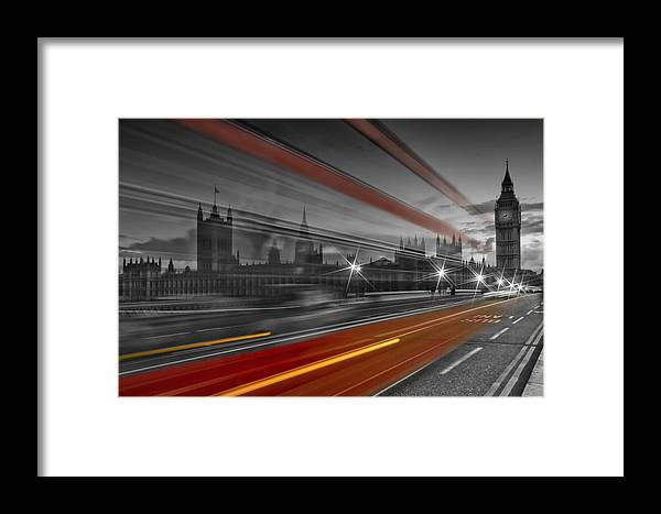 British Framed Print featuring the photograph London Red Bus by Melanie Viola