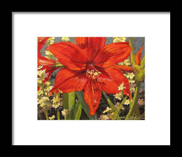 Red Flower Blossom Framed Print featuring the painting Lone Beauty by L Diane Johnson