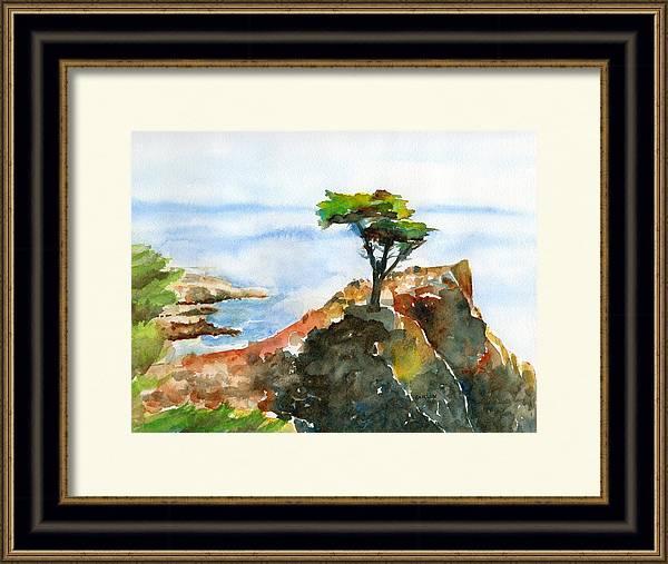 Lone Cypress Pebble Beach Fog by Carlin Blahnik CarlinArtWatercolor
