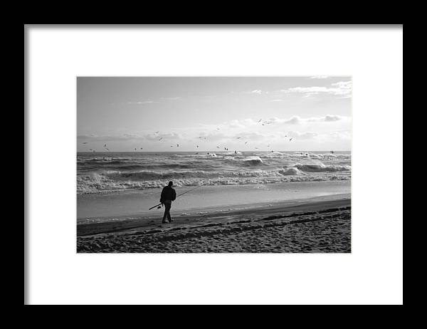 Sea Framed Print featuring the photograph Lone Fisherman by Linda C Johnson