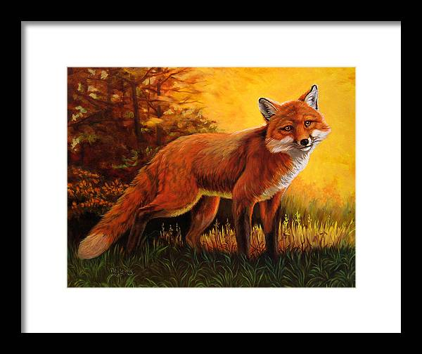 Animals Framed Print featuring the painting Lone Fox by Pat Lewis