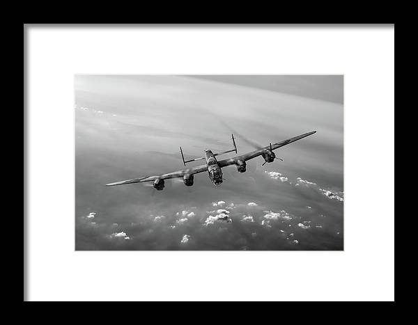 Lancaster Framed Print featuring the digital art Lone Lancaster Black And White Version by Gary Eason