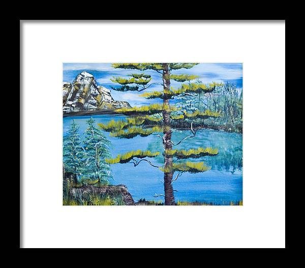 Landscape Framed Print featuring the painting Lone Pine by Mikki Alhart