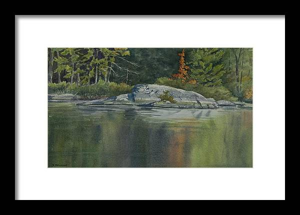 Water Framed Print featuring the painting Lone Red Tree by Debbie Homewood