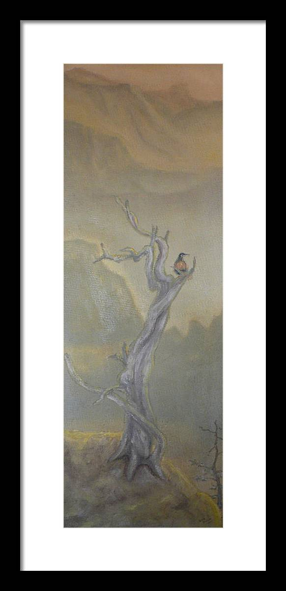 Bird Framed Print featuring the painting Lone Sentinel by Dan Bozich