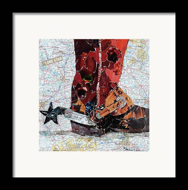 Torn Paper Collage Framed Print featuring the painting Lone Star Spur by Suzy Pal Powell
