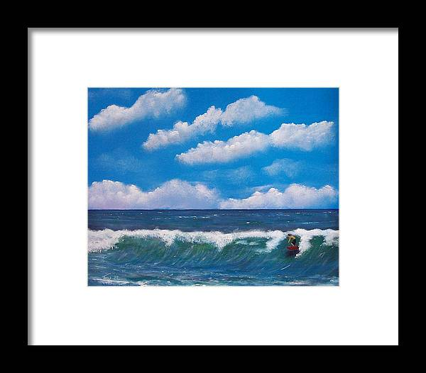 Seascape Framed Print featuring the painting Lone Surfer by Tony Rodriguez
