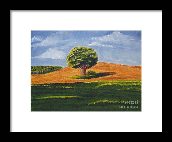 Tree Framed Print featuring the painting Lone Tree by Mendy Pedersen