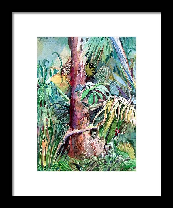 Jungle Framed Print featuring the painting Lone Tree by Mindy Newman