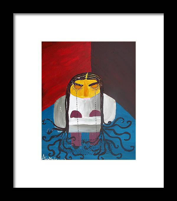 Girl Framed Print featuring the painting Loneliness by Neshka Muchalska