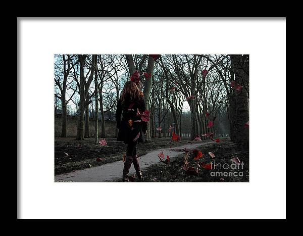 Lonely Framed Print featuring the pyrography Lonely Autumn by Vladi Konovalov